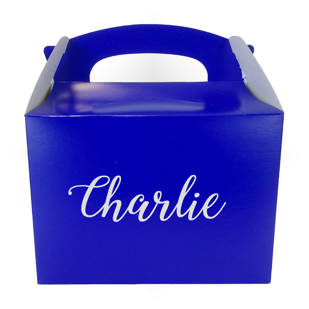 Personalised Name Party Box Blue with Silver Text - 175ml - Each
