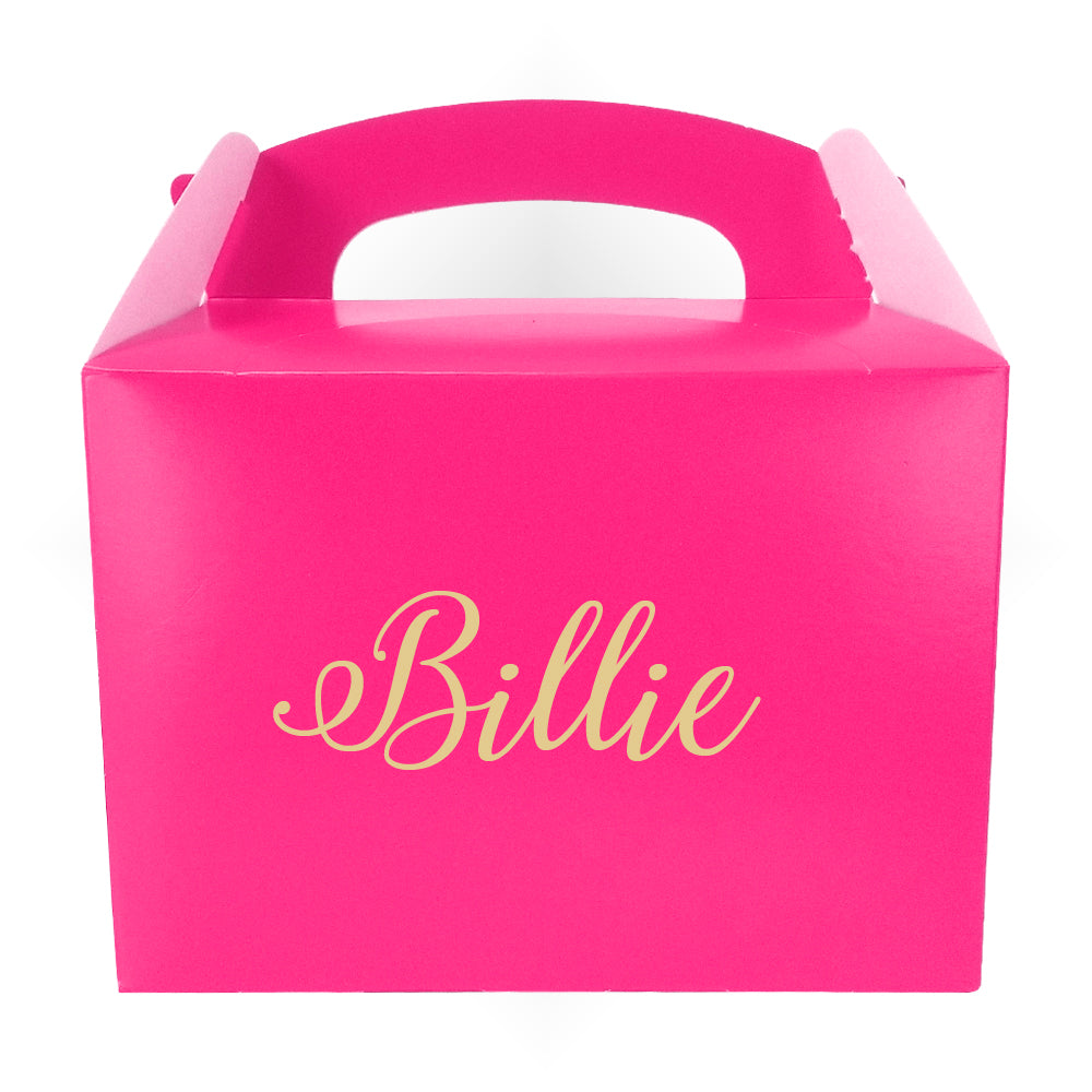 Personalised Name Party Box Pink with Gold Text - 175ml - Each
