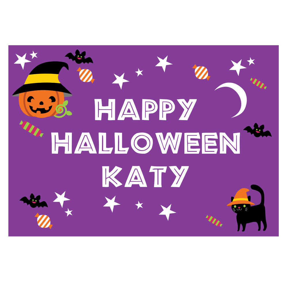 Cat & Pumpkin Halloween Personalised Poster - A3