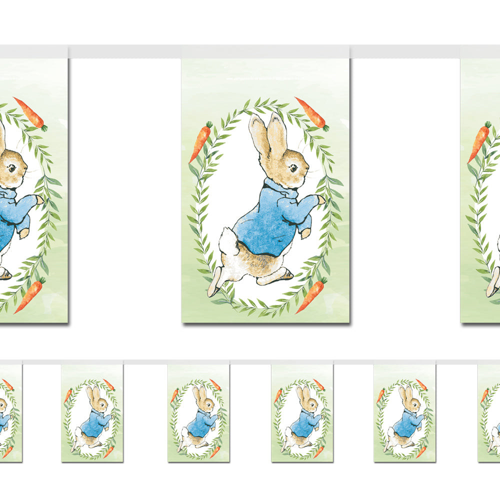 Peter Rabbit Paper Flag Bunting Decoration - 2.4m
