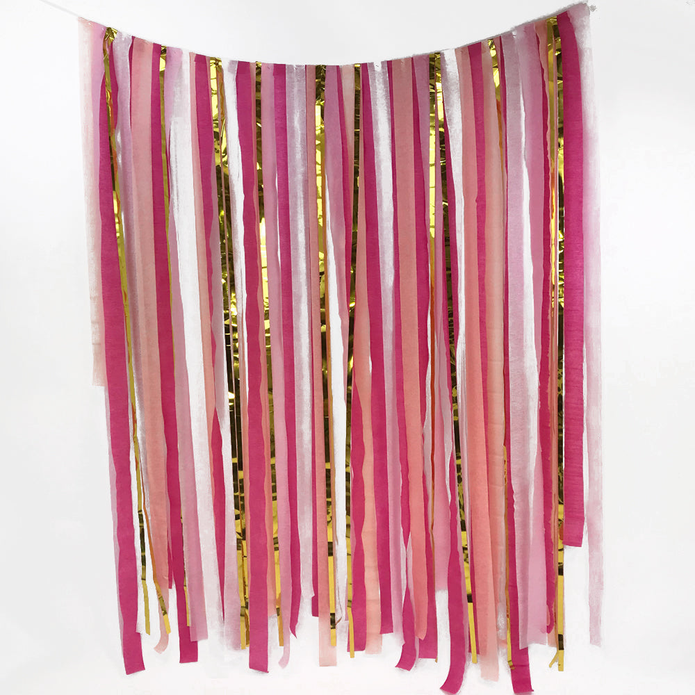 Pink & Gold Paper Streamer DIY Backdrop Kit