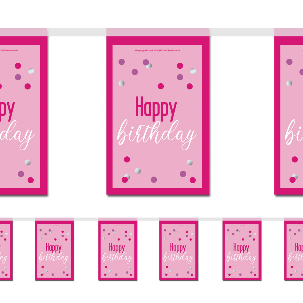 Glitsy Pink Happy Birthday Paper Flag Bunting - 2.4m