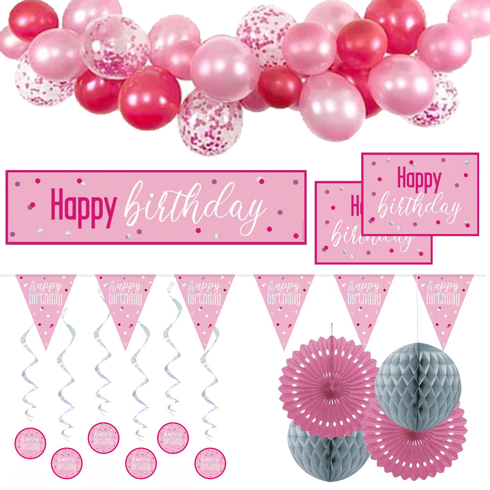 Pink & Silver Glitz Happy Birthday Decoration Pack