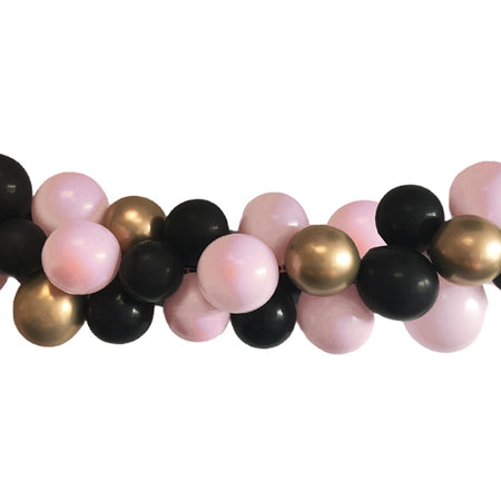 Pastel Pink, Black and Chrome Gold Balloon Arch DIY Kit - 2.5m