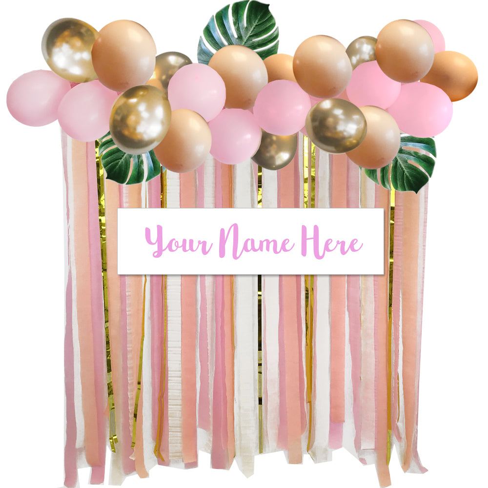 Personalised Pink & Gold Jungle Balloon Garland & Backdrop Kit