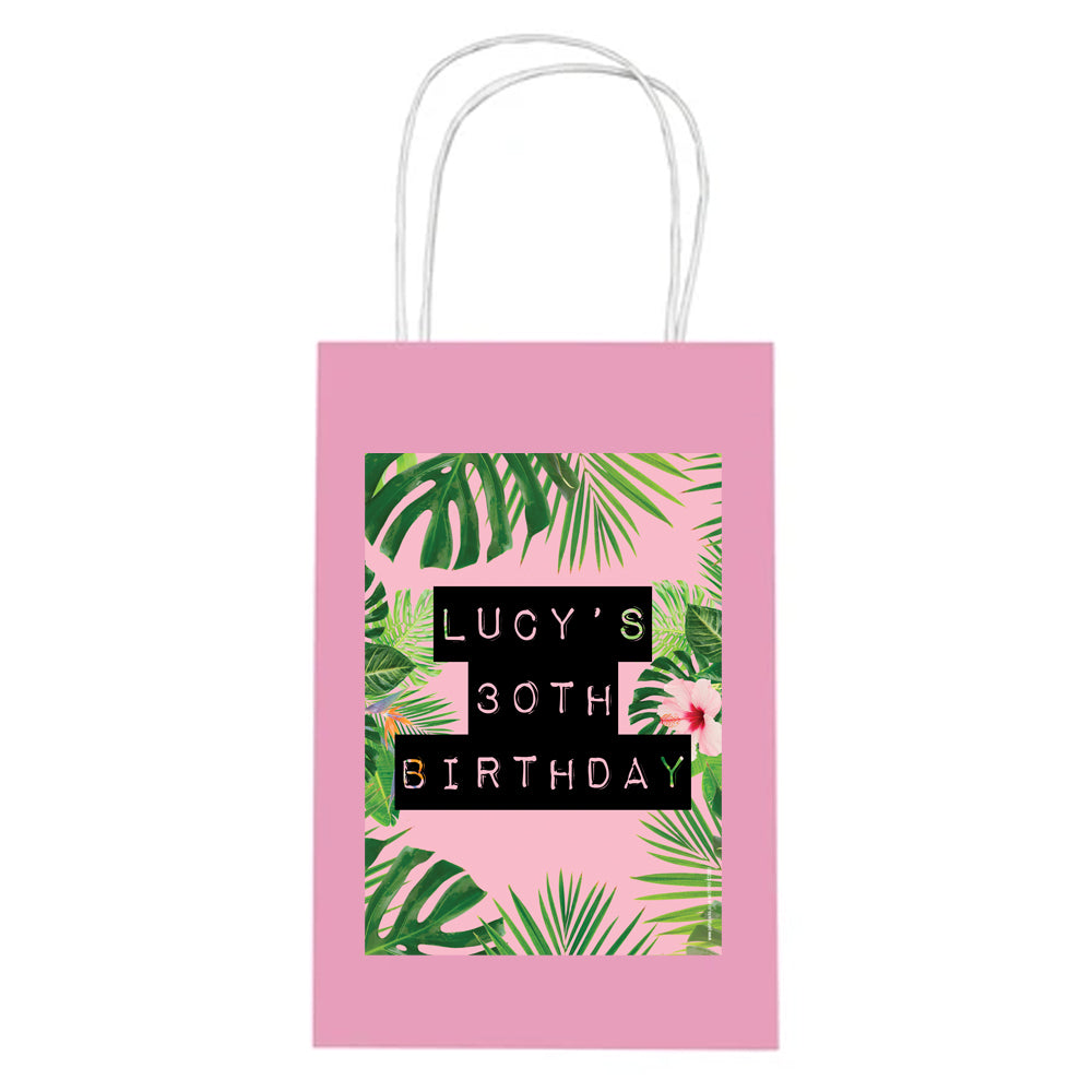 Personalised Tropic Like It's Hot Paper Party Bags - Pack of 4