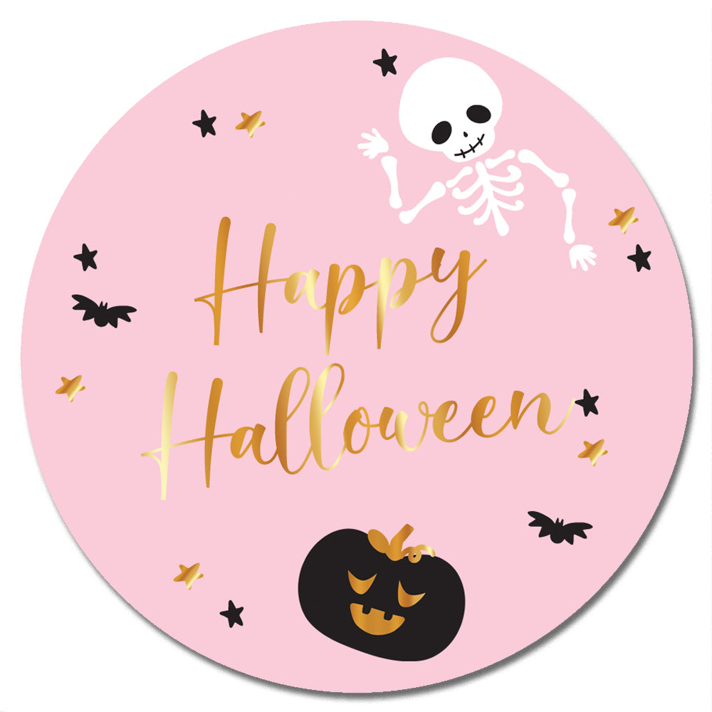 Personalised Badge - 58mm - Pink Halloween