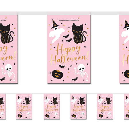 Pink Halloween 'Happy Halloween' Paper Flag Bunting Decoration - 2.4m
