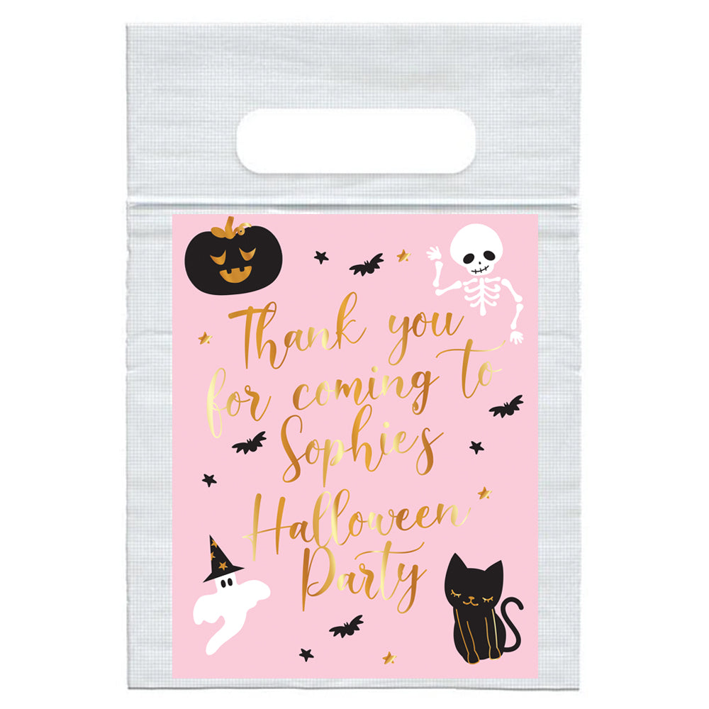 Personalised Pink Halloween Card Insert with Sealed Party Bag - Each