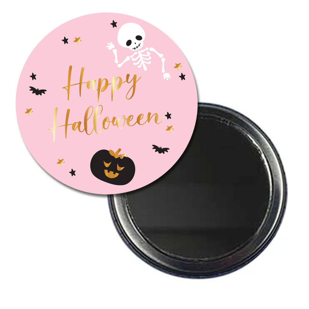 Personalised Pocket Mirror - Pink Halloween
