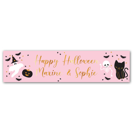 Pink Halloween Personalised Banner Decoration - 1.2m