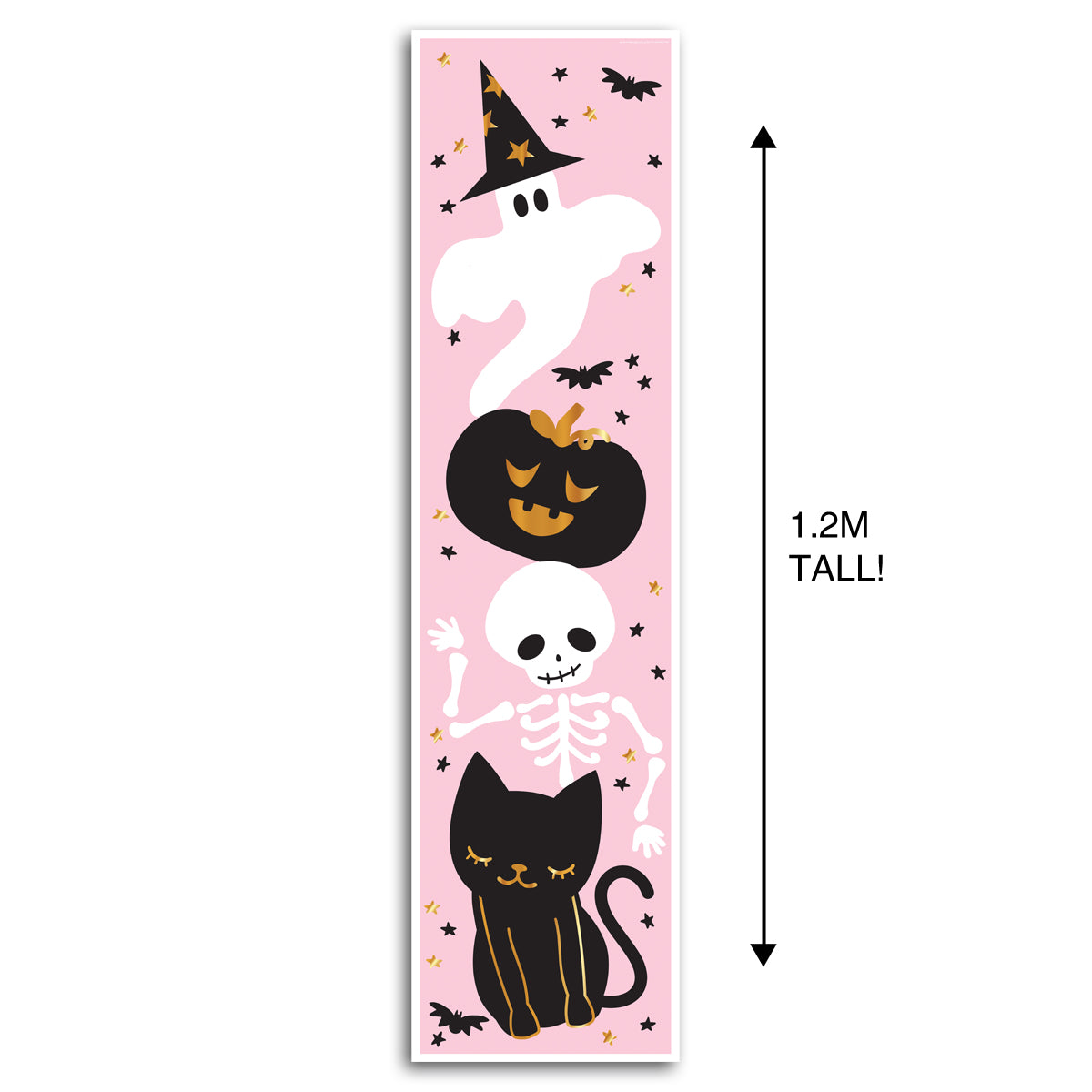 Pink Halloween Characters Portrait Wall & Door Banner Decoration - 1.2m