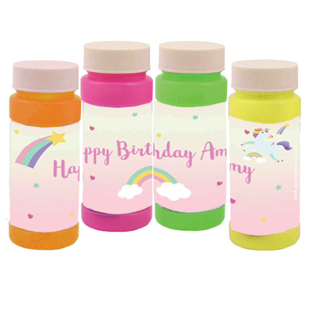 Personalised Bubbles - Pink Unicorn - Pack of 6
