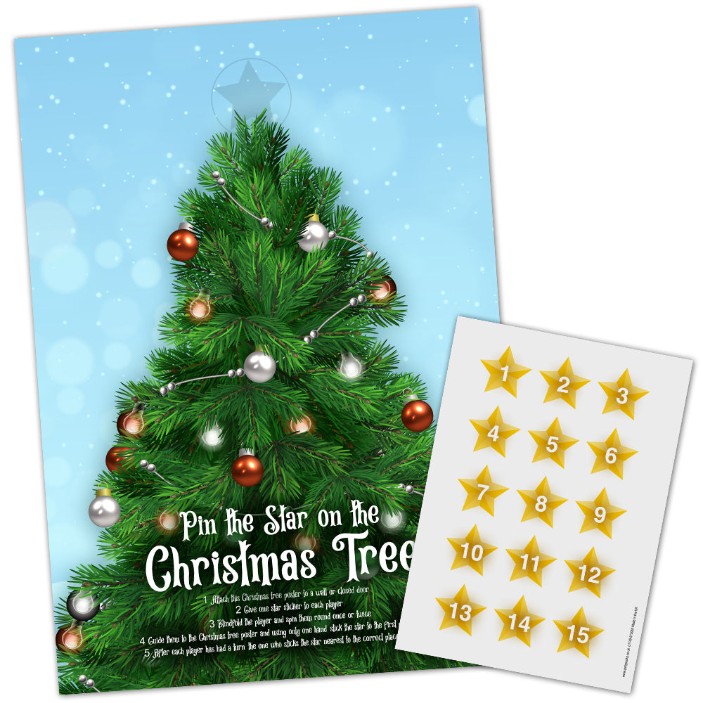 Pin the Star on the Christmas Tree Game with Stickers