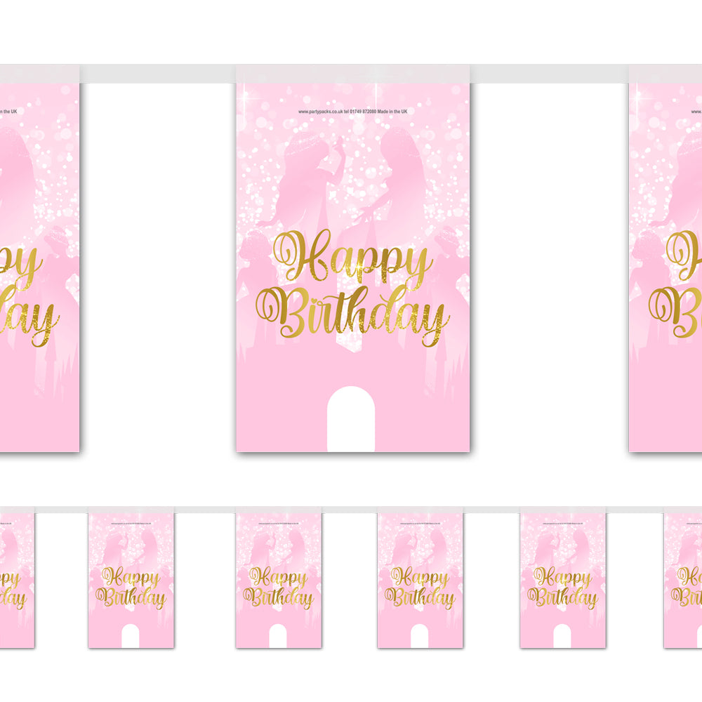 Princess Pink Sparkle Paper Flag Bunting Decoration - 2.4m