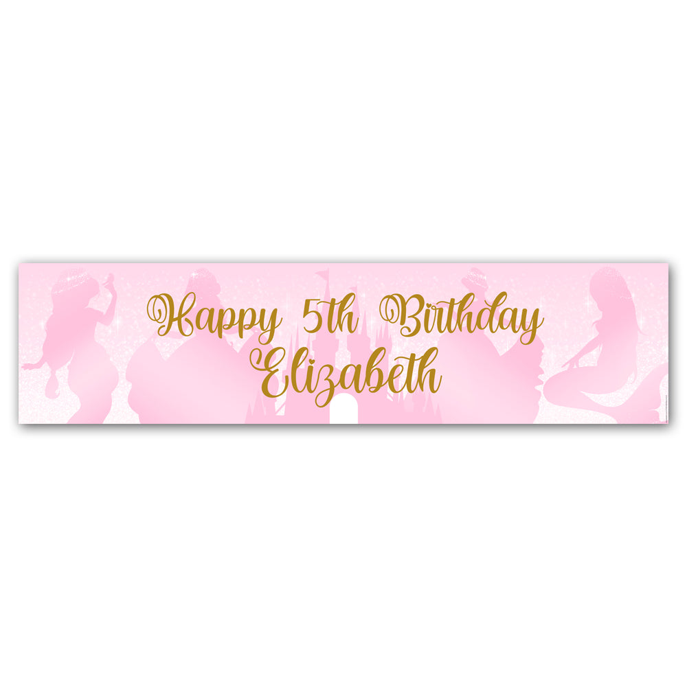 Princess Pink Sparkle Personalised Banner Decoration - 1.2m