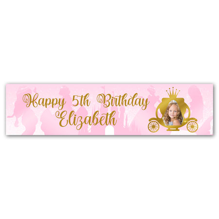 Princess Pink Sparkle Personalised Photo Banner Decoration - 1.2m