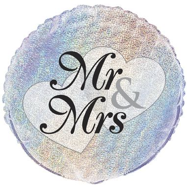 Mr & Mrs Prismatic Foil Balloon - 18""