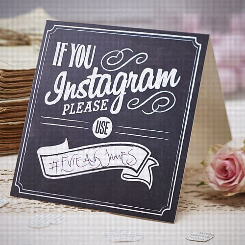 Vintage Affair 'If You Instagram' Table Sign - 13cm - Pack of 5