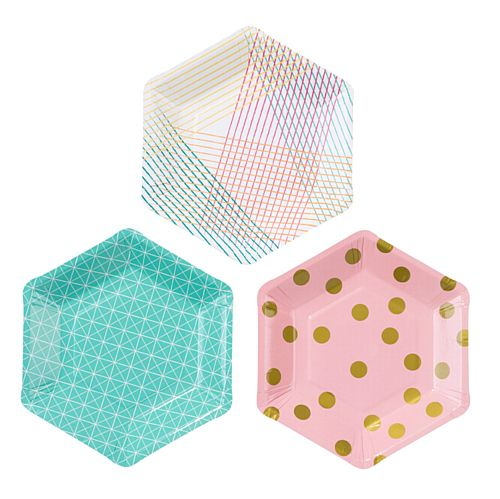 Party Time Hexagonal Plates - 18cm - Pack of 12