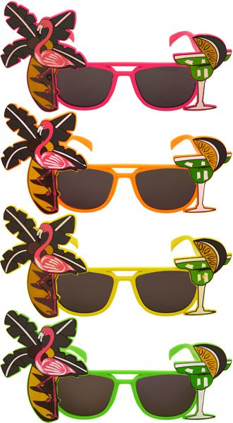 Flamingo and Palm Tree Glasses - Assorted Colours - Each