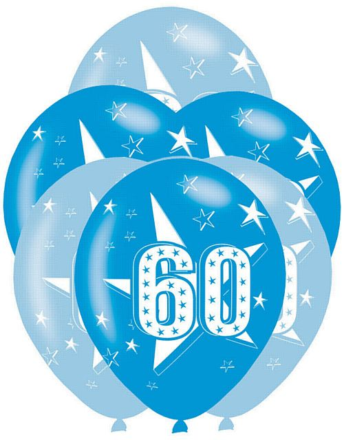 All Round Printed Age 60 Blue Latex Balloons - Pack of 6