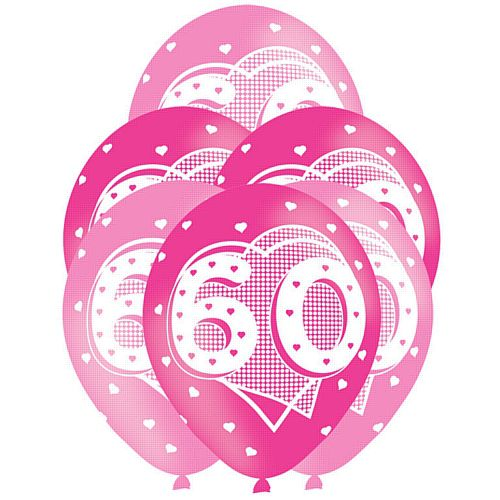 All Round Printed Age 60 Pink Latex Balloons - 27.5cm - Pack of 6