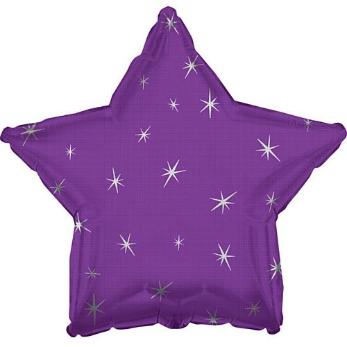 Purple Sparkle Star Foil Balloon - 18""