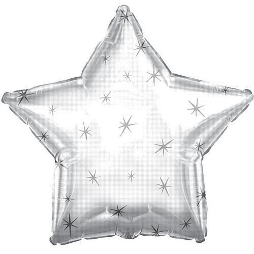 Platinum Sparkle Star Foil Balloon - 18""