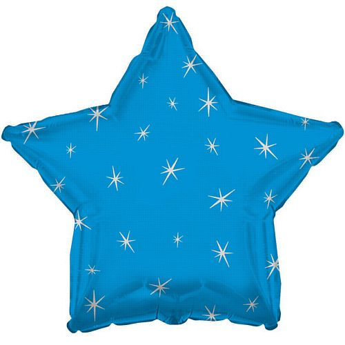 Blue Sparkle Star Foil Balloon - 18""
