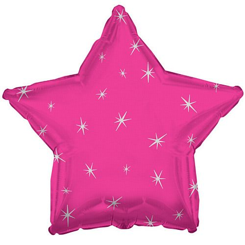 Hot Pink Sparkle Star Foil Balloon - 18""
