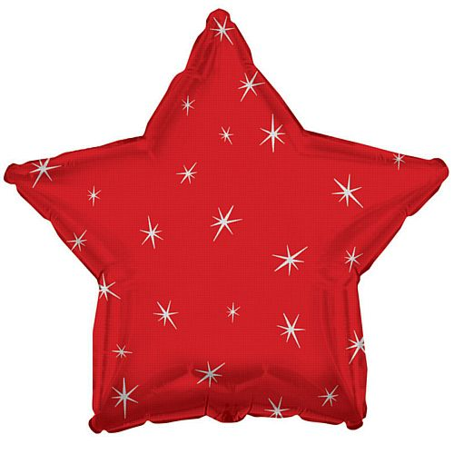 Red Spakle Star Foil Balloon - 18""