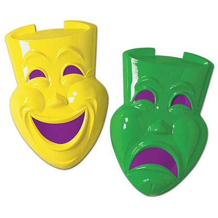 Click to view product details and reviews for Giant Green Yellow Plastic Comedy Tragedy Faces 53cm Pack Of 2.