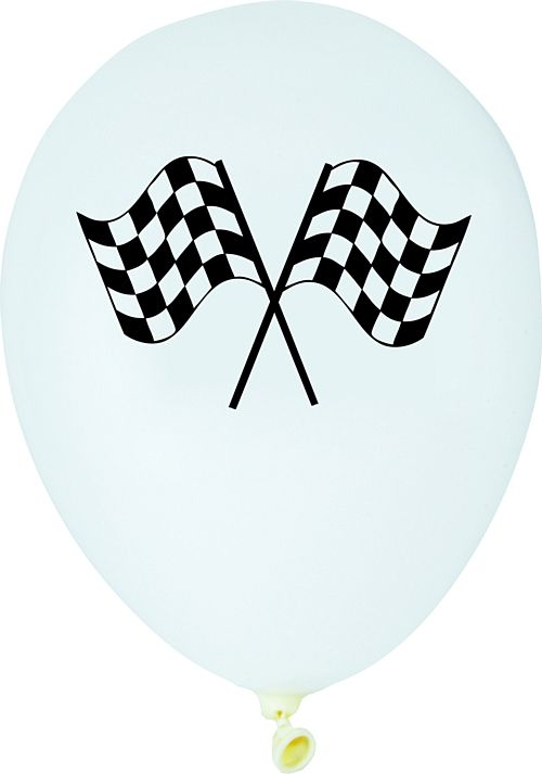 "Racing Flag Latex Balloons - 12"" - Pack of 6"