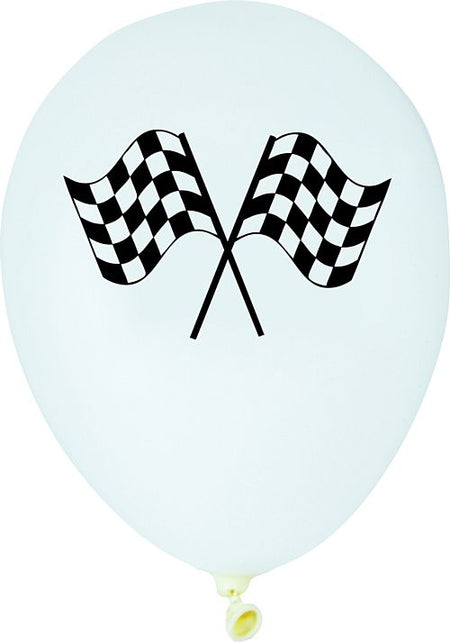 Racing Flag Latex Balloons 12 Pack Of 6