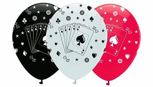 "Card Night Latex Balloons - 12"" - Pack of 6"