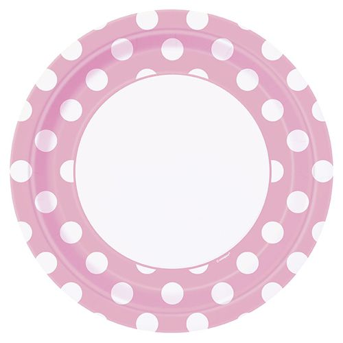 "Pale Pink Dots Large Plates - 9"" - Pack of 8"