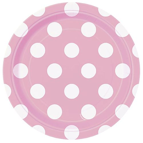 "Pale Pink Dots Plates - 7"" - Pack of 8"