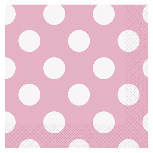 Pale Pink Dots Napkins - Pack of 16