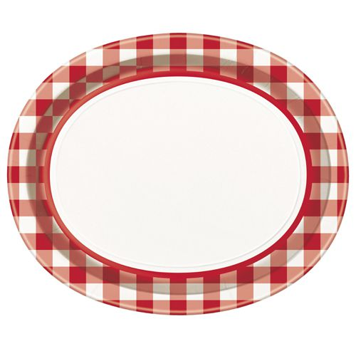 "Red and White Checkered Oval Plates - 12"" x 10"" - Pack of 8"