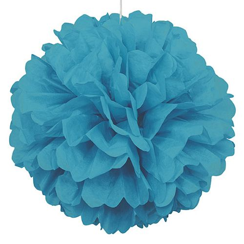 Carribean Blue Pom Pom Value Tissue Decoration - 40cm