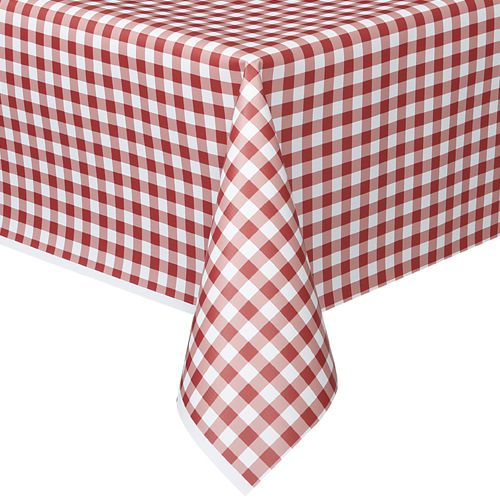 Red Gingham Plastic Tablecloth - 1.37m x 2.74m