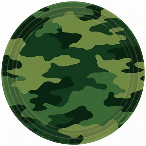 Camouflage Paper Plates - 22.8cm - Pack of 8