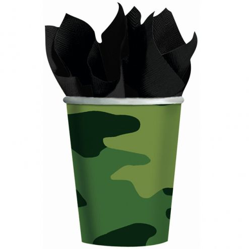 Camouflage Paper Cups - 266ml - Pack of 8