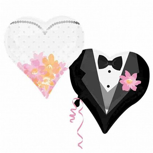 Wedding Couple Hearts Foil Balloon - 30""