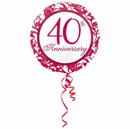 Click to view product details and reviews for 40th Wedding Anniversary Elegant Scroll Foil Balloon 18.