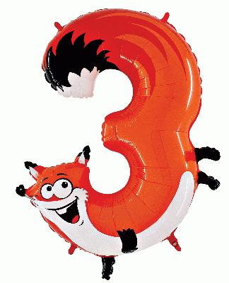 Zooloon Animal Balloon Number 3 Fox - 1m