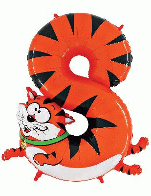 Zooloon Animal Balloon Number 8 Cat - 1m