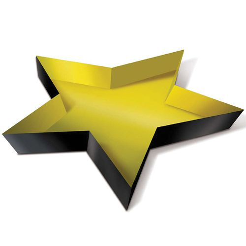 Gold Plastic Star Tray - 34.3cm