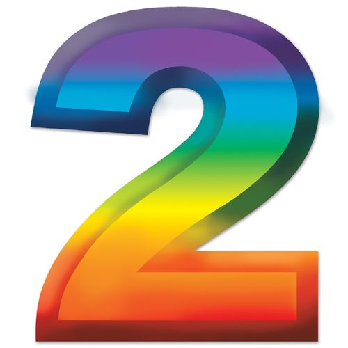 "Multicoloured Plastic 3D Number ""2"" - 11"""